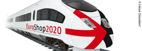 Graphic of a high-speed train with EuroShop logo; copyright: Messe Düsseldorf