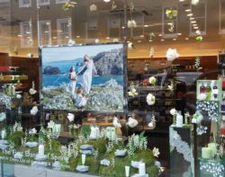 Image: Shown in a shop window are light flowers on moss and stone; Copyright: iXtenso/NM