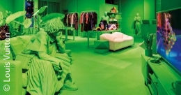 A green shop with individual elements in different colours; copyright: Louis Vuitton