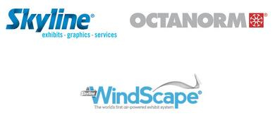 Logos for Skyline Exhibits, Octanorm, and Skyline WindScape® Exhibit System