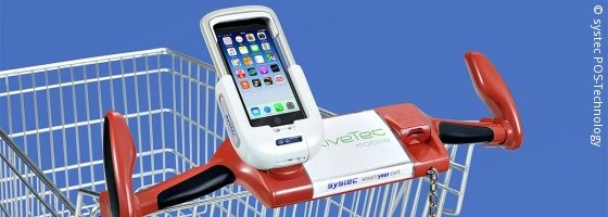 Photo: smartphone docking station for shopping carts; © systec POS-Technology