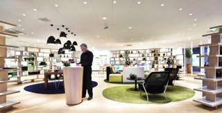 Oval shaped lounge area at KPN XL store