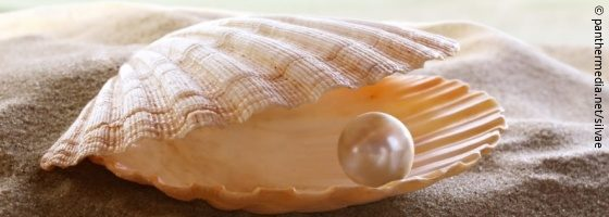 Shell with a pearl on the sand; copyright: panthermedia.net/silvae