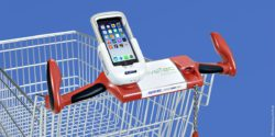 Photo: smartphone dockingstation for shopping carts; copyright: systec POS technology