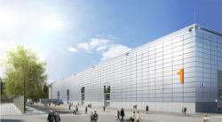 Graphic: exterior view Hall 1, Copyright: Messe Düsseldorf/sop architekten, Visualisierung: CADMAN