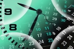 An analog clock and calendar dates overlapping; copyright: PantherMedia/newlight