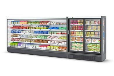 The small stores cabinet range provides a harmonious store layout (here: Mendos XU and Velando CS for dairy and frozen food presentation)