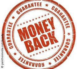 "Photo: Sign with the words ""money back guarantee""; copyright: panthermedia.net/Arcady"
