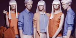 Image: Five mannequins with white hair in a row; Copyright: Hans Boodt Mannequins