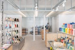 View into a modern stationery store with shelves and goods; copyright: Papier Tigre_Cent15 architecture_Caudroy photography