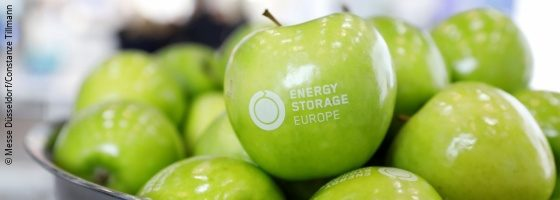 Green apples in a shell, one with the inscription Energy Storage Europe; copyright: Messe Düsseldorf / Constanze Tillmann